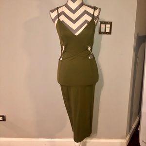 Akira Olive Green Midi Dress Cutout Wiggle M